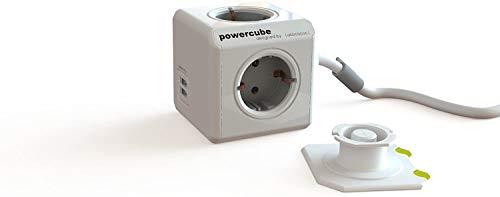 Kompakter Steckdosen-Würfel für 4 Stecker und 2 USB Geräte (2 A gesamt), Schreibtisch-Steckdose, 1,5 Meter Kabel, grau-weiß