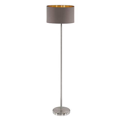 EGLO Stehlampe Maserlo, 1 flammige Textil Stehleuchte, Standleuchte aus Stahl und Stoff, Farbe: nickel matt, cappuccino, gold, Fassung: E27, inkl. Trittschalter