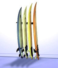 Vertical Surfboard Wall Rack Quad by T-Rax