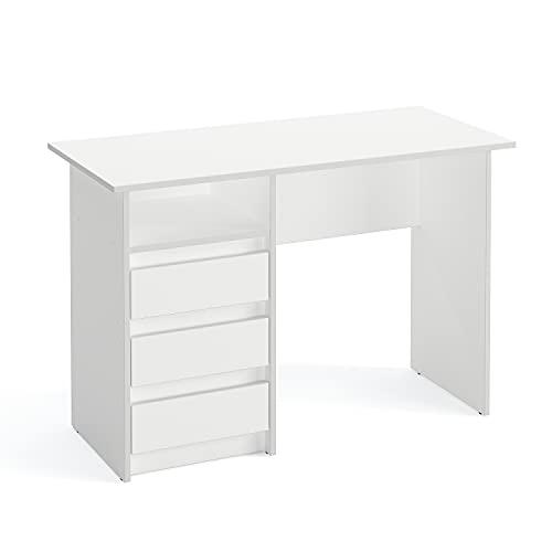 KOMTO Oslo - Escritorio con cajones - Mesa de oficina pequeña mesa de trabajo para niños - Escritorio infantil con espacio de almacenamiento | Moderno escritorio blanco | 110 x 50 x 74 cm