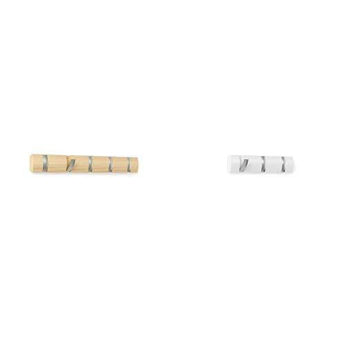 Umbra 318850 390 Perchero de pared con 5 ganchos extraíbles para varios abrigos, color madera, 50.8 x 6.5 x 3.1 cm, + 318853 660 Percha de Pared Flip 3 Blanco