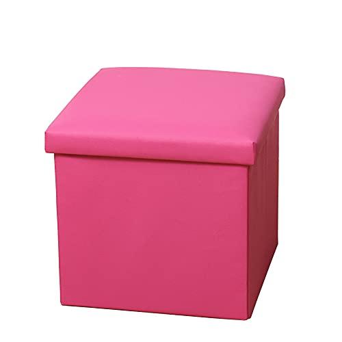 ZXCVB Otomana De Almacenamiento,Baúl Puff De Almacenaje,Hecho De Lino Polipiel, Taburete Acolchado Y Plegable De Cuero, Carga Máxima De 150 Kg 38x38x38cm,Pink