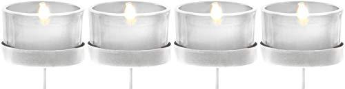 Novaliv 4X Kerzenhalter weiß/klar Teelichthalter Teelichtgläser Kerzenhalter zum Stecken Kerzenpicks für Adventskranz 5cm