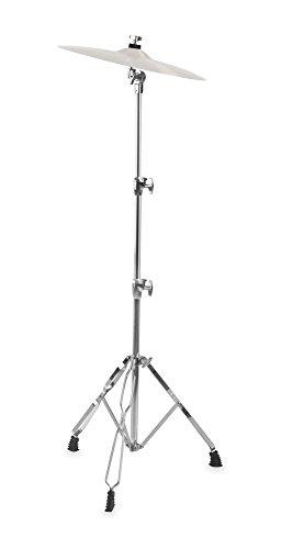XDrum Beckenständer Semi - Cymbal Stand höhenverstellbar von 70-140 cm - Praktisches Memory Lock System - Doppelstrebig und stabil - Silber