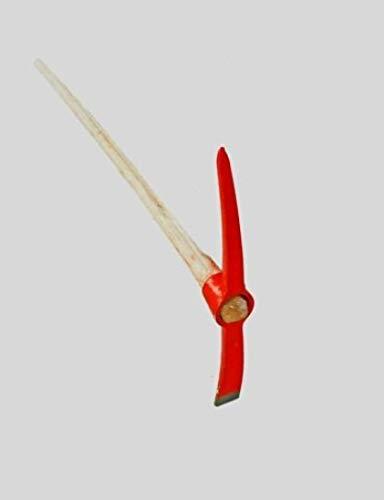 Shop of Wonder Kreuzhacke Spitzhacke Krampen Pickel - mit Holzstiel 1,5 KG - 114cm rot