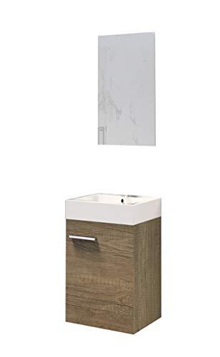 Baikal 280034040 Muebles de Baño Lavabo y Espejo, de una Puerta, Ideal para aseos o baños pequeños, Melamina 16, Roble Gris Nebraska