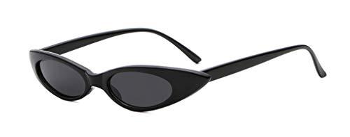 NJJX Gafas De Sol Pequeñas De Ojo De Gato A La Moda Para Mujer, Gafas De Sol Retro Para Mujer, C1Black