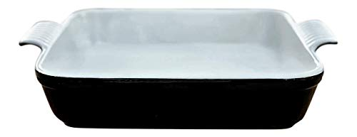 Square Premium Stoneware Baking Dish Handcrafted in Classic Black and White - 10 x 10 Great for Lasagna, Casseroles, Prime Rib, Roasted Vegetables, and Indulgent Desserts