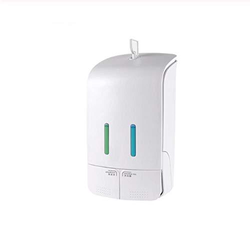 550mlX2 Wandmontierter doppelter manueller Flüssigseifenspender Handdrückender Shampoo-Spender für Duschkörperlotion - Weiß