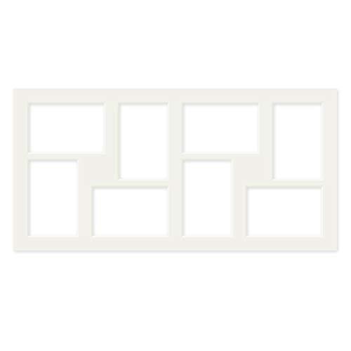 PHOTOLINI Galerie-Passepartout Weiß 30x60 cm für 8 Bilder in 10x15 cm   Passepartout mit Mehrfachausschnitt