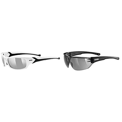 Uvex Unisex– Erwachsene, sportstyle 211 Sportbrille, white black/silver, one size & Unisex– Erwachsene, sportstyle 204 Sportbrille, smoke/smoke, one size