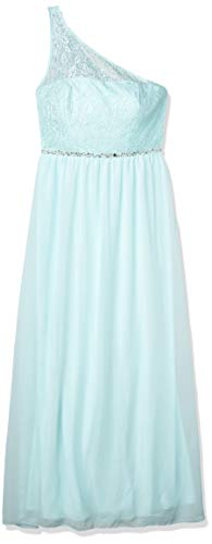 Speechless Juniors One Shoulder Illusion Long Prom Dress, Light Aqua, 7