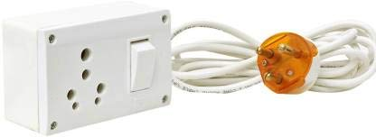 Hi-PLASST 1 Socket 16A Power Extension Box for Refrigerator, Washing Machine, Microwave with Heavy 3-Core Cable and 16A 3-Pin Plug...