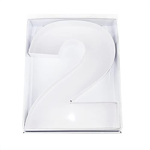 12'Cardboard Number Shaped Mache Decorative Strawberries Fillable Sweets Candy Box with Clear Lid (White, 2)