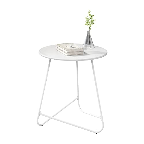 HOMEFORT Round Patio Side Table,Outdoor Snack Table,Anti-Rust Metal End Table, All-Metal Tray Table,17.9- Inch Bedside Table, Indoor Modern Sofa Side Table, Sturdy Metal Frame(White)