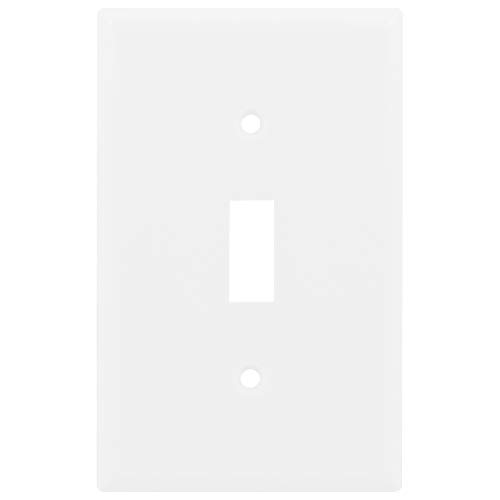 "Power Gear Single Oversized Wall Plate Cover, 1 Gang, Unbreakable Faceplate, 3.1"" x 4.9"", Screws Included, White, 30598 Toggle Switch Wallplate"