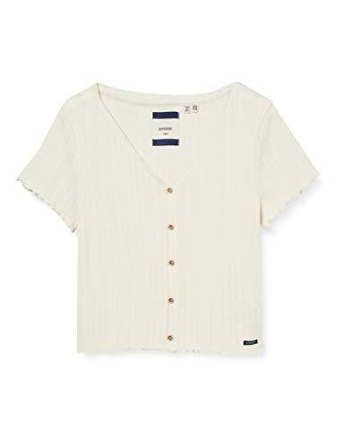 Superdry Damen Summer Pointelle Tee T-Shirt, Grau (Oyster PCB), M (Herstellergröße:12)