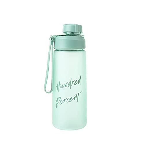 Jsmhh Botella Helada Simple con Mango Copa portátil de Estudiante Creativo Botella de Bebida Recta Creativa Taza a Prueba de Fugas Botella al Aire Libre Portátil Portátil Handy Cup Green