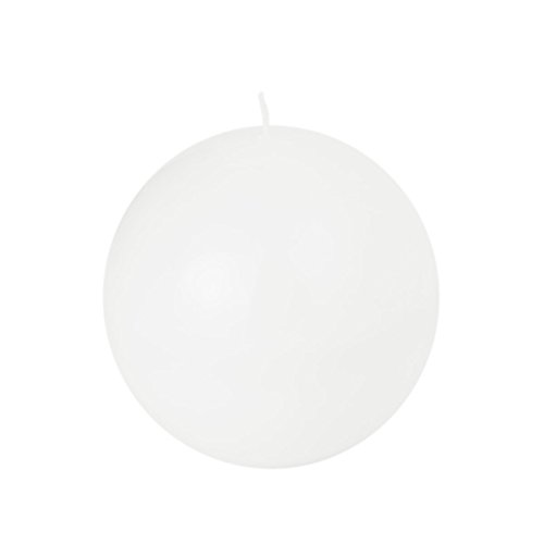 Set di candele bianche a forma di sfera in 4 dimensioni, di colore bianco lucido, bianco, 10 cm Kugelkerze