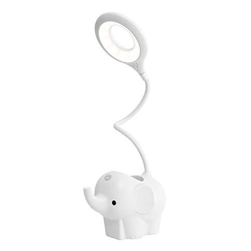 Lamoy Lámpara De Escritorio LED Touch Cuello De Cisne Recarga Pequeño Elefante Soporte Para Bolígrafo Lámpara De Lectura Regulable Portátil Trabajo Protección Ocular (white)