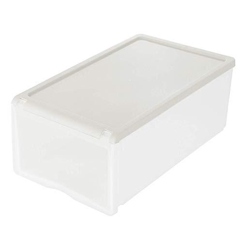 Kuingbhn Caja de almacenamiento de zapatos de plástico transparente para el hogar, caja de almacenamiento apilable, plegable, zapatero para hombre (tamaño: 33 x 21 x 13,5 cm, color: gris)