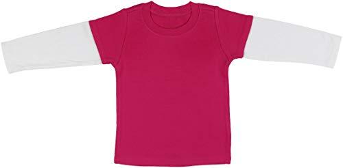 ToBeInStyle playeras de cuello redondo y manga larga para niños y niñas,  Rosado fuerte/blanco, 12 meses