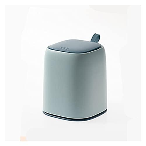 Poubelle Bureau Wastebasket Poubelle avec couvercle Appuyez for ouvrir le CoverHas poignée en plastique petit bureau minuscule comptoir Garbage Can poubelles pour Le tri sélectif (Color : Green)