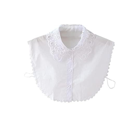 Elegante Cuello de Encaje Estilo Simple Blusa Desmontable Media Camisa para niñas y Mujeres Blancas