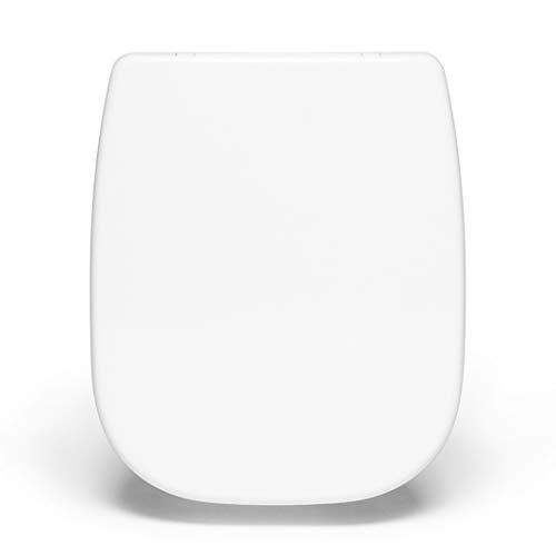 Bullseat® 7.1 premium Toilettendeckel weiß passend zu Duravit D-Code. Klodeckel mit Absenkautomatik/Softclose und abnehmbar. Antibakterielle Klobrille aus Duroplast und rostfreiem Edelstahl.