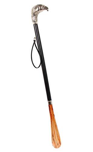 Design Schuhanzieher Schuhlöffel 70 cm mit silbernem Adlerkopf als Griff, schwarzer Holzschaft