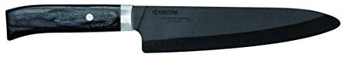 Kyocera JPN-180-BK Couteau/Trancheur Manche Pakka Wood Lame Céramique Noir 18 cm