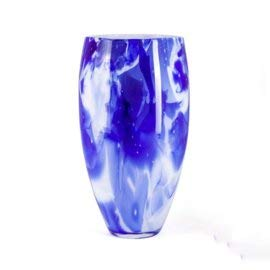 Design Vaas - Fidrio - glazen sculptuur - delfts blauw - gekleurd glas - mondgeblazen - 40 cm hoog