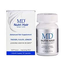 MD Nutri Hair Growth Supplement with Biotin (30 Capsules) | Prevents Hair Loss, Minimizes Hair Shedding, Thinning, Breakage & Promotes Longer, Thicker Hair|Skin-Safe & Natural Formulation