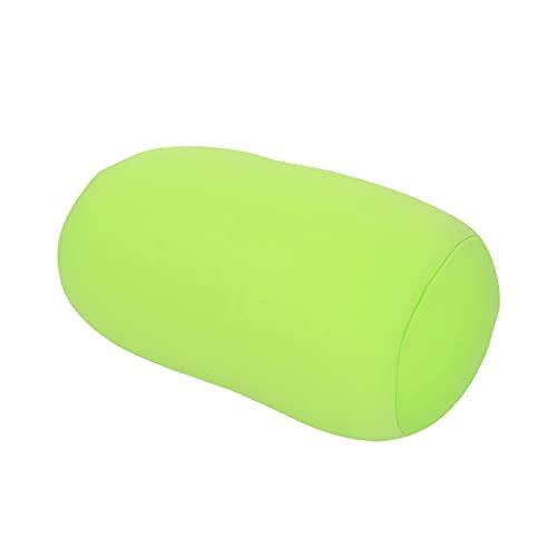 Tyenaza Portátil Micro Mini Microperlas Cojín Trasero Rollo Almohada Viaje Hogar Dormir Soporte para el Cuello Cómodo Proteger la Columna Cervical(Verde)