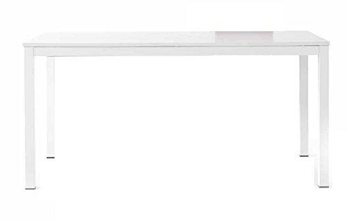 InHouse srls Tables Blanc Pore Ouvert avec 1 rallonge da 50 cm, Style Moderne, en MDF laminé et Structure en Aluminium - Dim. 120 x 80 x 75