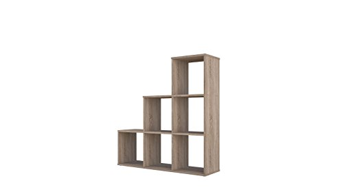 Polini Home Estante para escaleras Estante para escalones Estante separador de ambientes roble 6 compartimentos