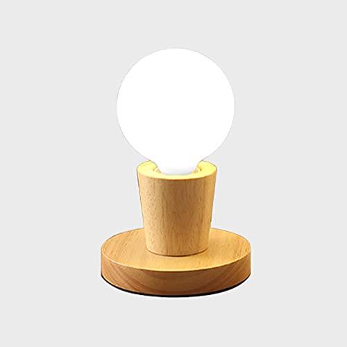 Mini lámpara de mesa nórdica de madera maciza, lámpara de escritorio decorativa de estilo japonés, lámpara de noche para niños, estilo C sin bombilla