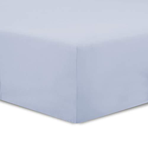 VISION - Drap Housse - 100% Coton Bio - 160x200cm - Gris Perle