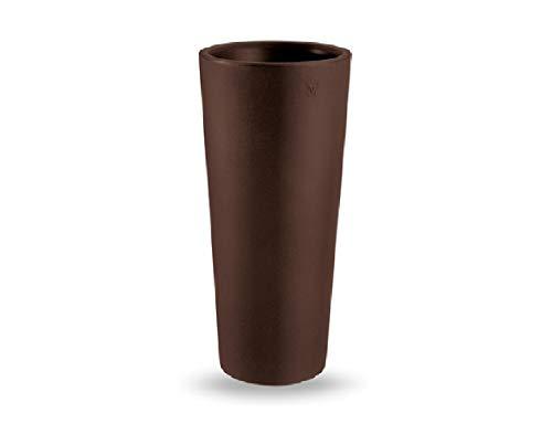 Vaso Colore Bronzo in Resina Genesis Cache-Pot Rotondo Alto H 85 X 38