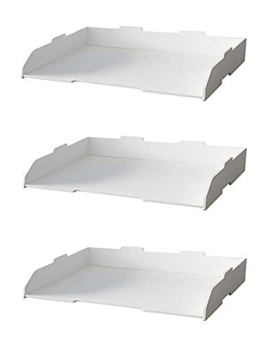 A3レターケース 横/縦型 深型 2段/3段/4段式 書類ケース デスクトレー 収納ラック オフィス リビング収納 整理整頓 小物収納 積み重ね 頑丈 おしゃれ 文房具 組立簡単 (横型&3段)