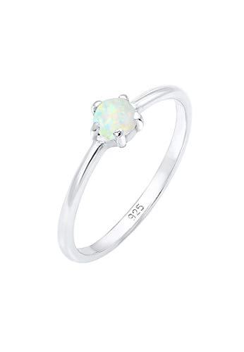 Elli Damen Echtschmuck Ring Bandring Basic Synthetischer Opal Geo in 925 Sterling Silber 52