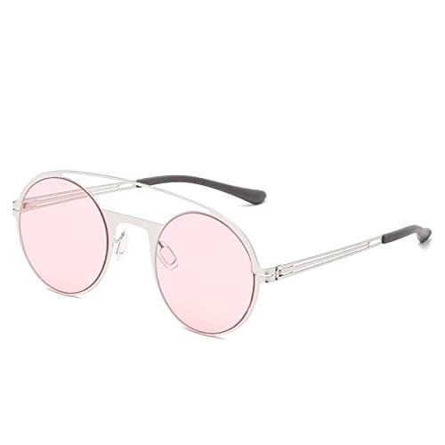 SHEANAON Gafas de Sol Redondas de Metal Hombres Mujeres Moda Gafas de Sol Coloridas Protección UV400
