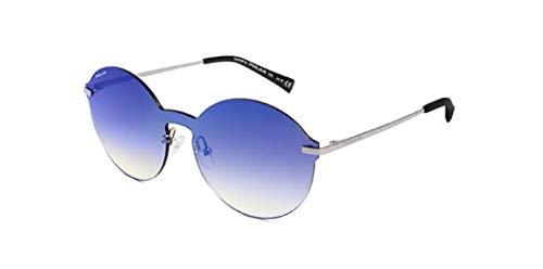 Gafas de sol marca Polar modelo POP01 placa única de lente con varillas de metal plateado con lentes polarizadas azules espejadas.