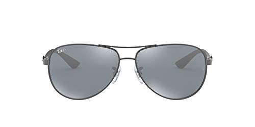 Ray-Ban Carbon Fibre Gafas de sol, Aviador, Polarizadas, 61,Multicolor (setting: bronze, glasses: silver polarized mirror 004 / K6)
