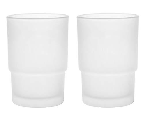 Livpow Zahnputzbecher Glas Ersatz Satiniertem Glas Packung Von 2 MEHRWEG