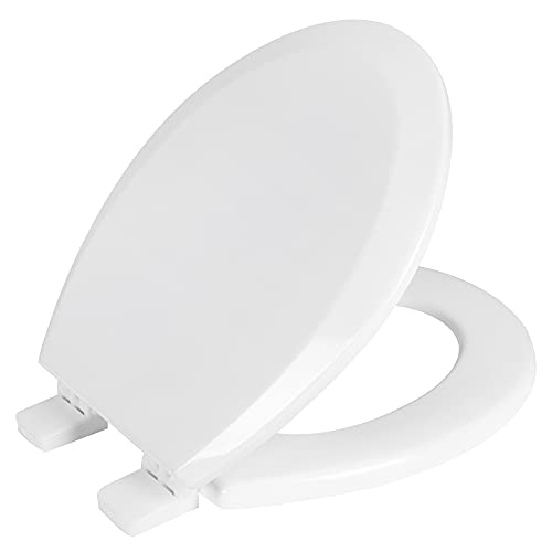 AINAZHI White Wooden Toilet Seat, Fast and Secure installation, Non-slip Seat, Easy Clean, Standard for All American Round Toilets