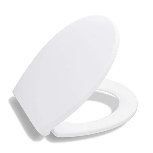 BATH ROYALE BR620-00 Premium Round Toilet Seat with Cover, White - Slow Close, Easy Clean, Replacement Toilet Seat Fits All Toilet Brands including Kohler, Toto and American Standard (Round Size)