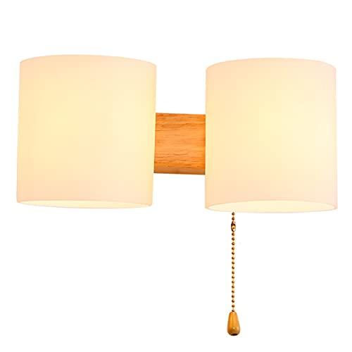 QEGY Nórdica Moderno Aplique de Pared Interior Madera Lámpara de Pared Dormitorio con interruptor de línea Pull E27 2 Luces Lámpara de Noche con Pantalla de Vidrio cilindro Lámpara de Espejo Baño