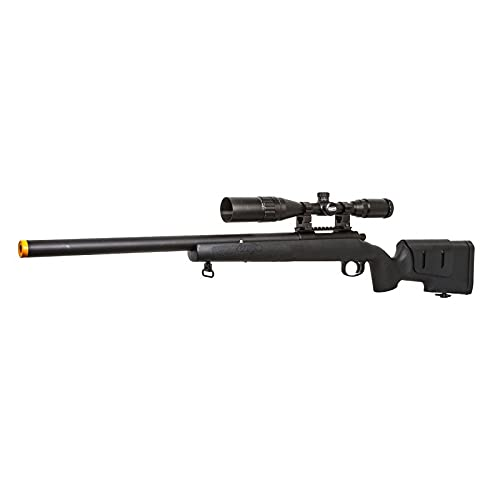 Lancer Tactical Classic Army SR40 Bolt Action Spring Airsoft Sniper Rifle Black 440 FPS