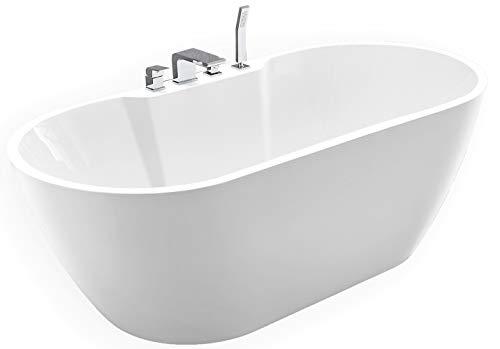 Freistehende Badewanne JAZZ PLUS Acryl weiß - 170 x 80 cm, Vormontage:Mit Vormontage (5 Werktage), Wannenarmatur:Mit Wannenarmatur 6080 Chrom